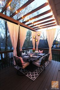Deck Decorating Ideas: Pergola, Lights and Cement Planters ...