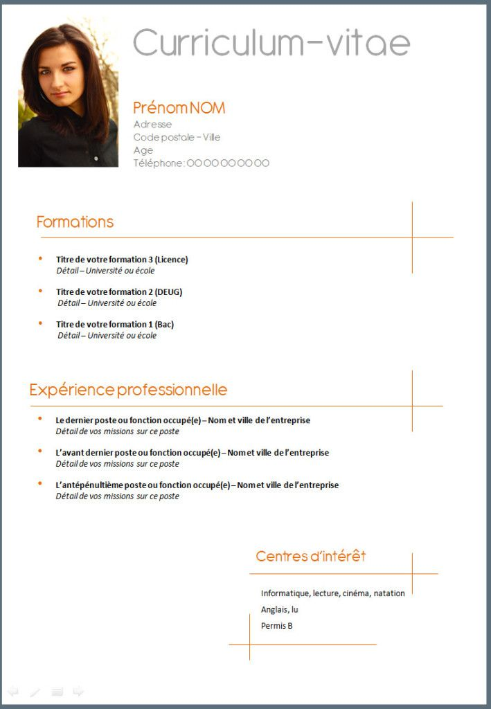 cv demande de stage college