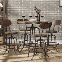 Berwick Industrial Style Round Counter-height Pub ...