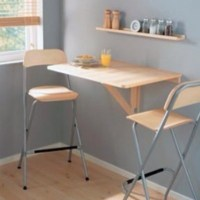 IKEA Wall Drop Leaf Table Birch Breakfast Nook Bar Folding ...