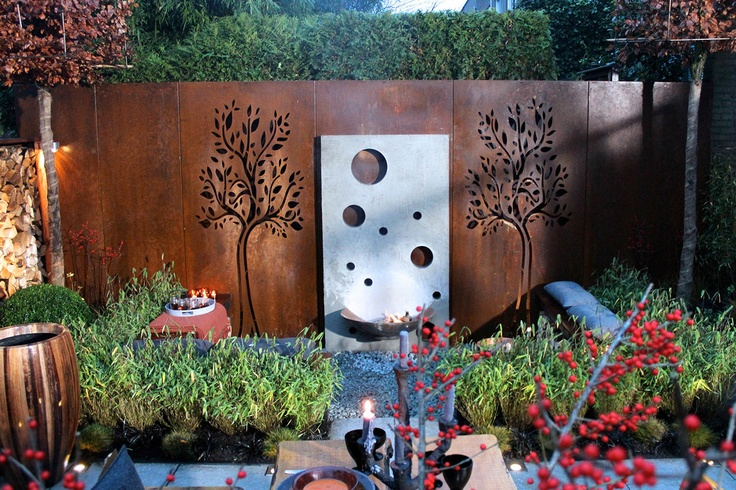 Zaun Metall Beautiful Corten Steel Schutting | Fencing With Tree