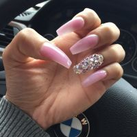 Baby Pink + Rhinestone Long Coffin Nails. #nail #nailart ...