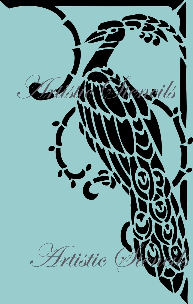 Stencils For Painting Stencil Art Deco Peacock 8 X 10 | Crafting, Stencils And