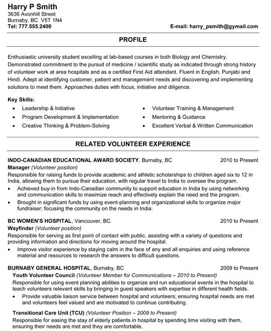 resume templates science majors