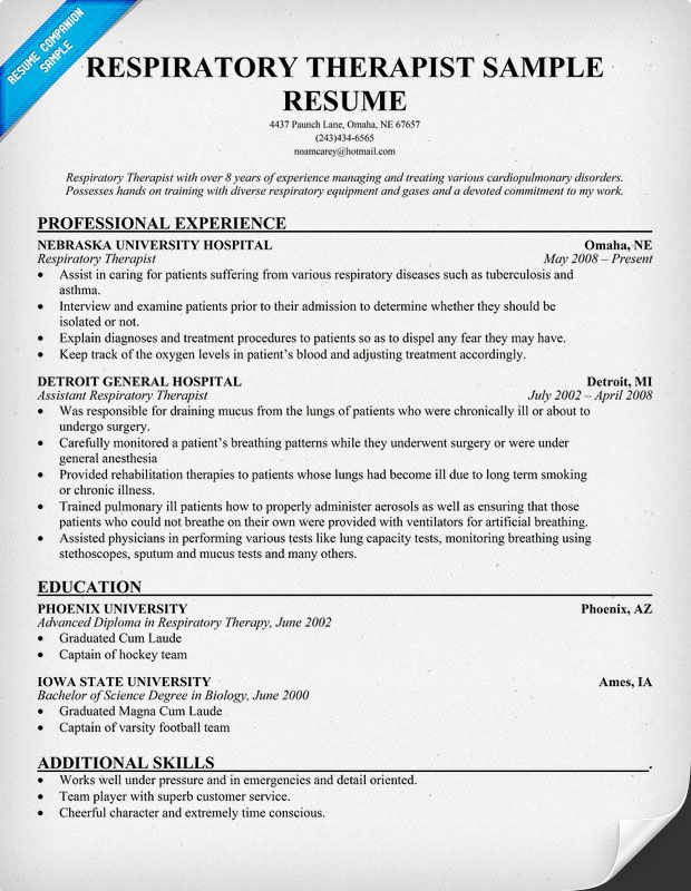 Sample Resume For Respiratory Therapist Student Resume Pdf Download