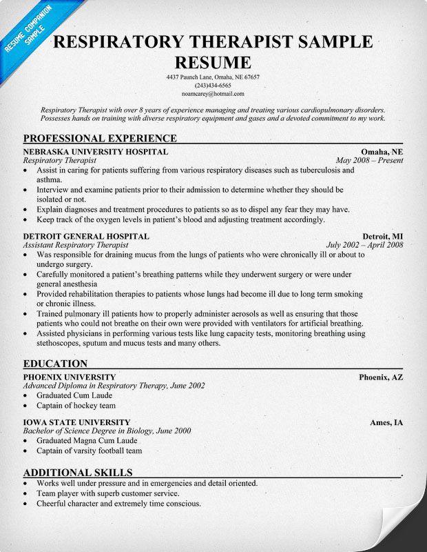 respiratory therapist example resume