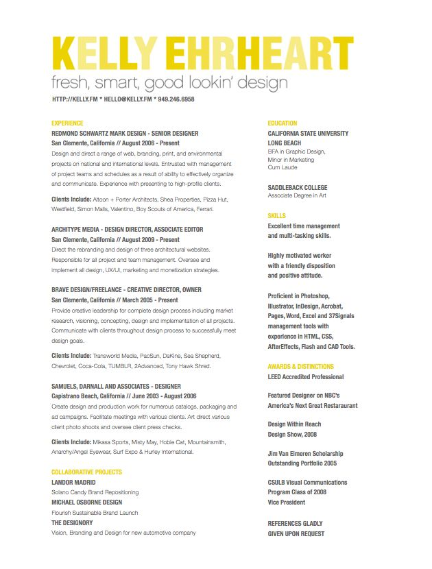 resume examples for art director