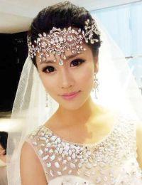 Bride white crystal frontlet bride hair accessories ...