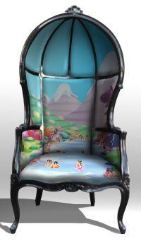 Porter chair, balloon chair, hooded chair, gothic rococo ...