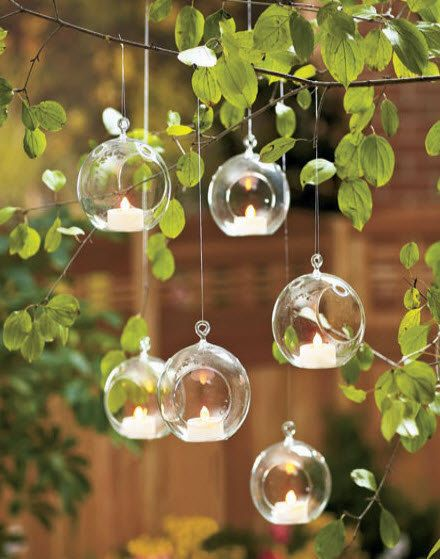 Clear Hanging Glass Bauble Ball Tealight Candle Holder