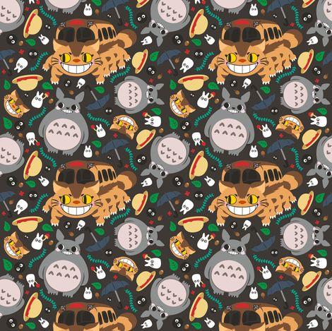 Cute Cupcake Wallpaper Totoro Pattern02 Fabric By Samtronika On Spoonflower