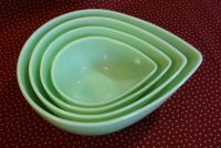 4 Fire King Jadeite Jadite Swedish Modern Bowls Tear Drop ...