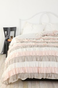ber feminine ruffle duvet cover in pale pink, grey ...