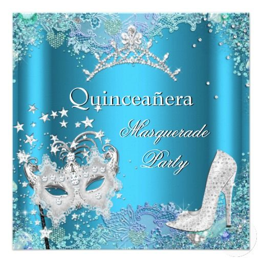 Invitation Letter Wedding Card Masquerade Quinceanera 15th Party Blue Tiara Card