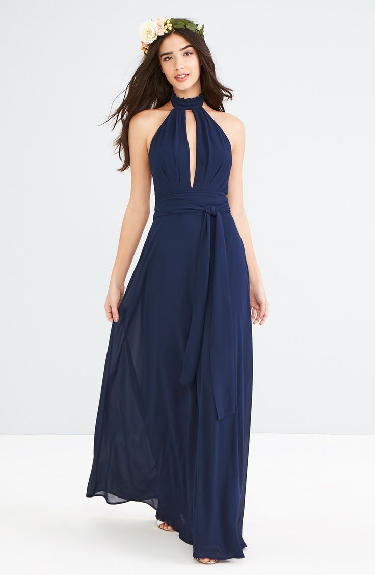 navy blue bridesmaid dresses navy blue wedding dress Navy Blue Maxi Dress for Weddings and Bridesmaids Ruffle Neck Halter Gown navyblue