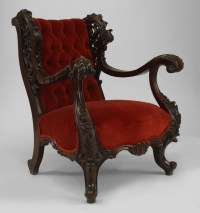 Goth Victorian Armchair Red Velvet Ornate Carved Wood ...