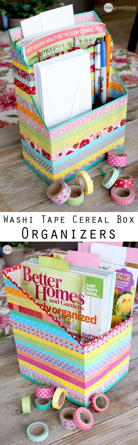 Diy Washi Tape Cereal Box Organizers Beautiful Fun