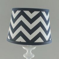 Small Navy White Chevron lamp shade with accent Navy blue ...