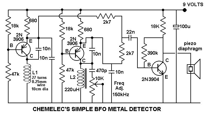 simple beat frequency oscillator bfo metal detector circuit