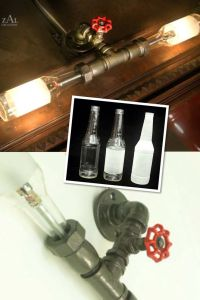 Beer bottle and pipe light fixture Repurposed light ...