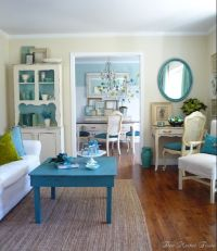 Turquoise, green & white shabby chic living room ...