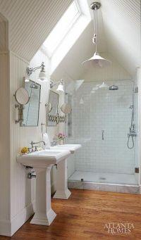 vaulted ceiling bathroom with pendant light. overhead ...