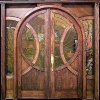 Beautiful wooden double door with circular shape glass ...