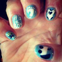 Nails nail art design baby blue boy it's a boy onesie ...
