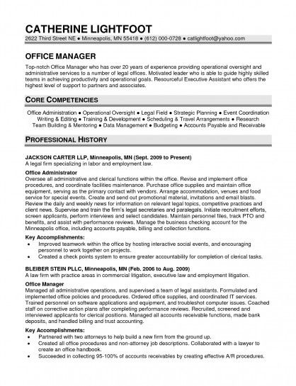 sample resume office manager law firm