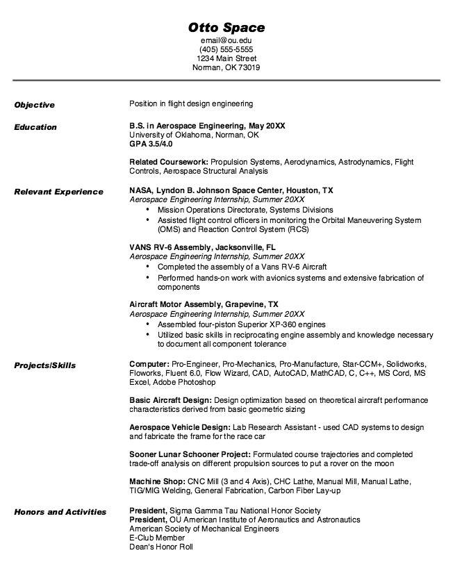 Nasa Aerospace Engineer Sample Resume] Aeronautical Engineer Sample ...