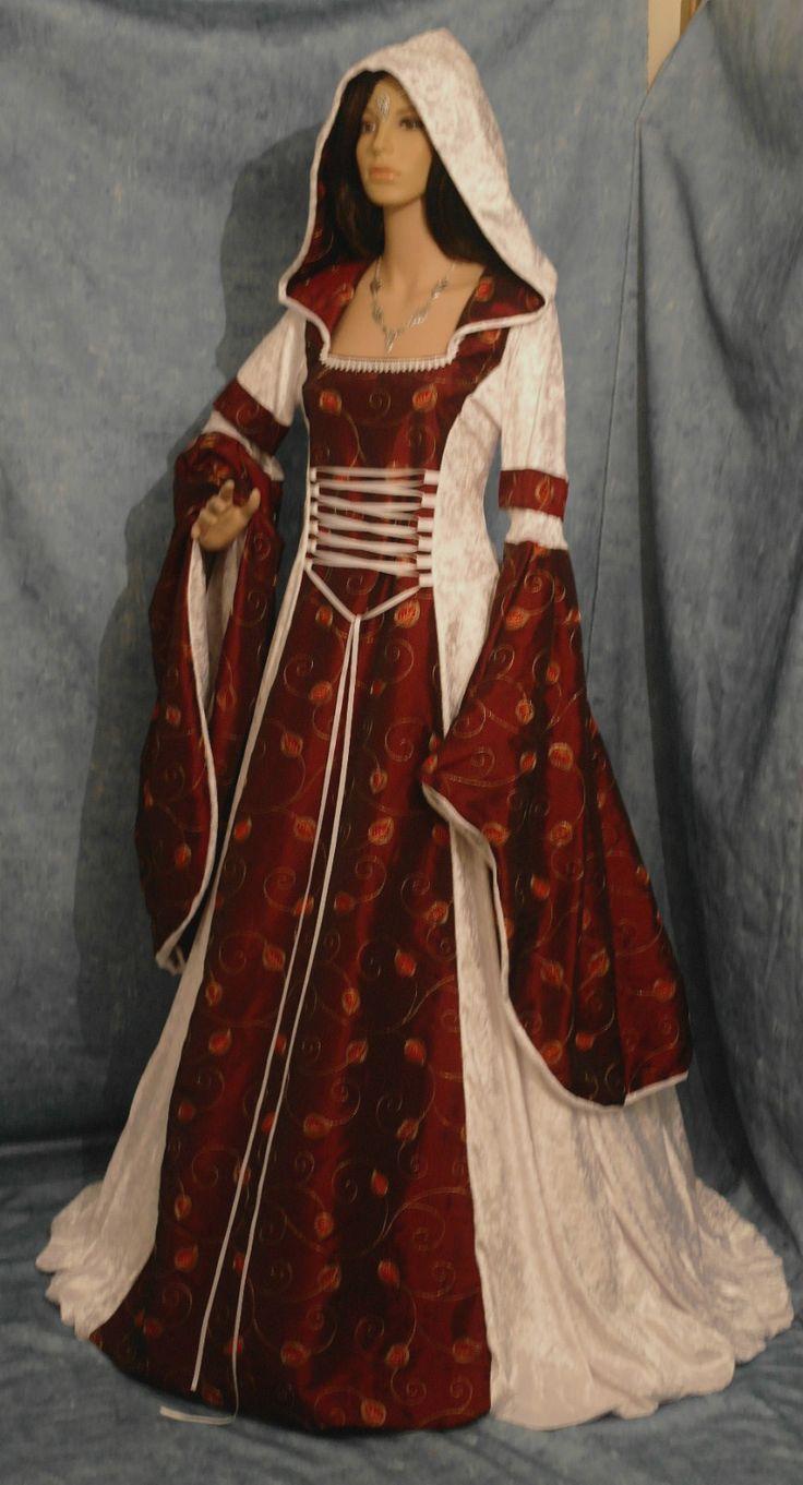 wedding dress possibles red gothic wedding dress Gothic medieval renaissance wedding dress hooded PAGAN wicca custom made