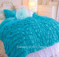 Shades of aqua turquoise ruffles shabby cottage chic twin ...