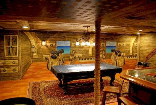 3d Wallpaper Pool Table Pirate Ship Themed Mural Throughout A Lower Level Hand