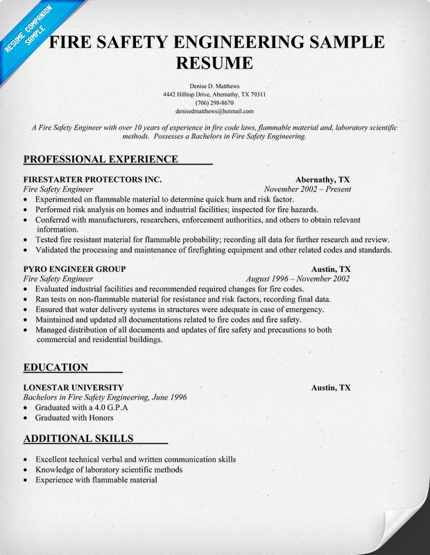Professional Resume Examples Specialists Non Industrial Fire Safety Engineering Resume Sample Resumecompanion
