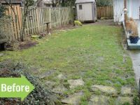 before & after, path, yard, makeover, flagstone, narrow ...