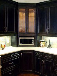 Corner built-in microwave cabinet, with glass door upper ...