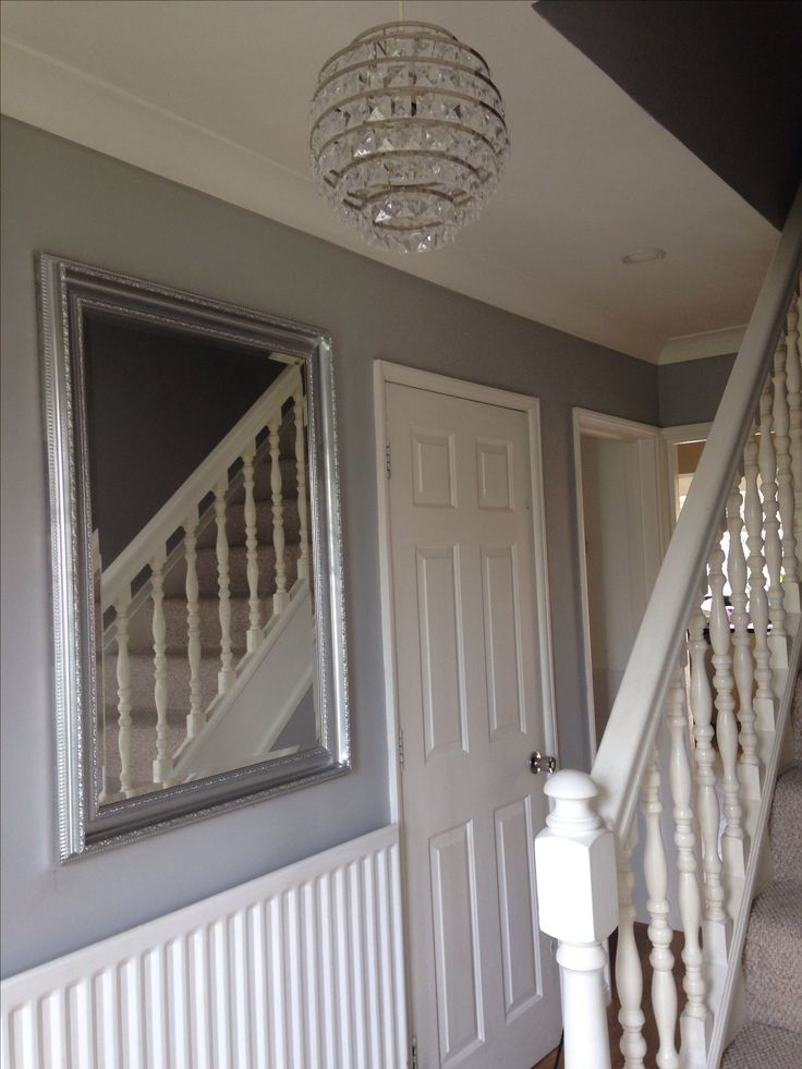Wall Mirror Entrance Hallway Dulux Chic Shadow With An Up Cycled Gold Mirror