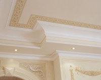 Ceiling painting with plaster border and frames from ...