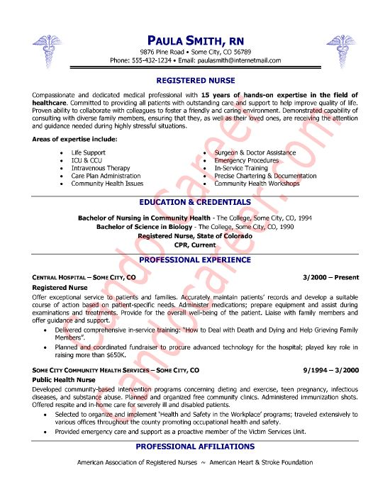 sample resume for nurses skills
