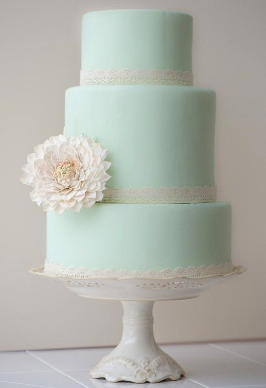 Fabulous wedding cakes light blue and white 3 tier