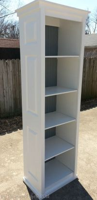 bookcase made from bi-fold doors at My Repurposed Life ...