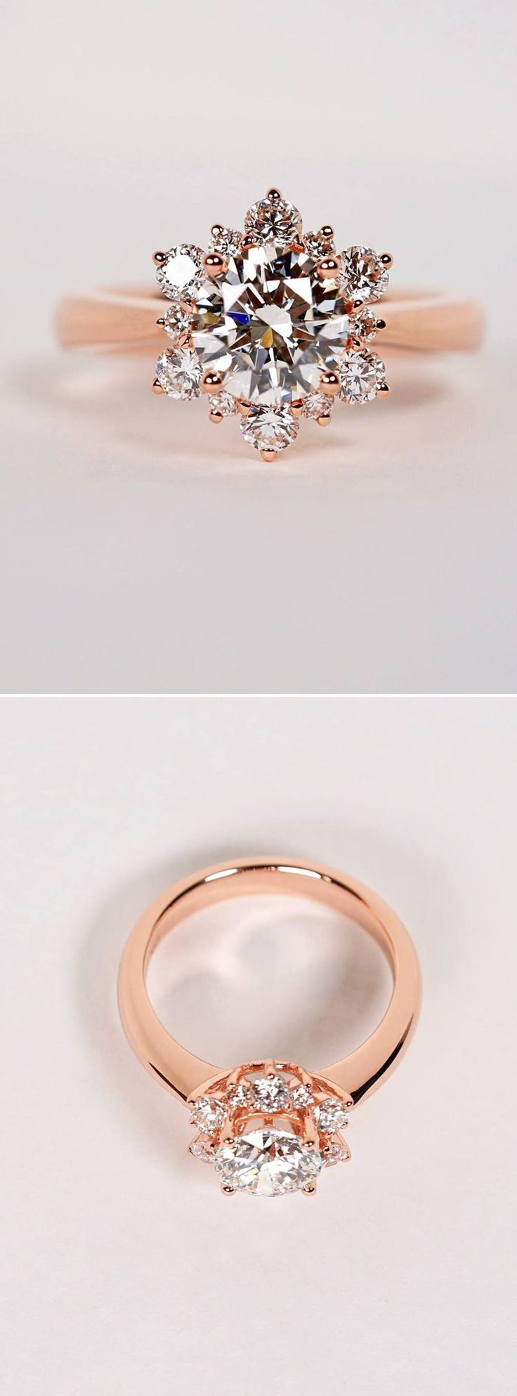 wedding rings rose gold rose gold wedding rings Beautiful rose gold engagement ring inspired by a snowflake Website www theweddingscoop