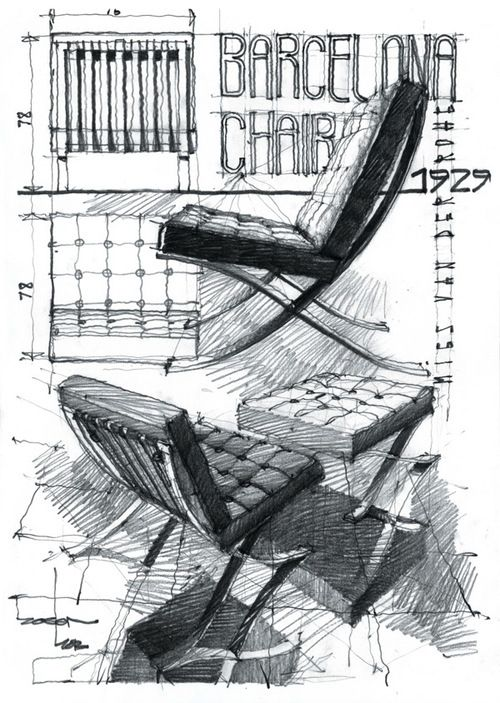 Silla Barcelona Mies Van Der Rohe Architectural Drawings Andrei Zoster | Architectural