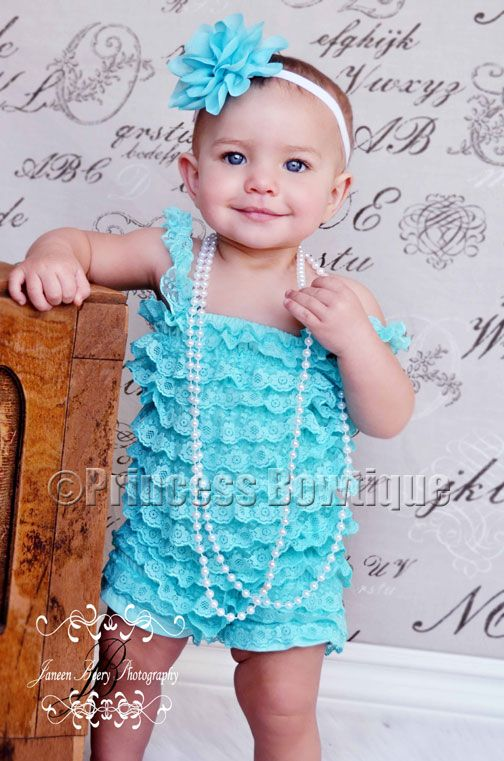Cute Infants Wallpapers Turquoise Petti Lace Baby Romper With Vintage Alphabet
