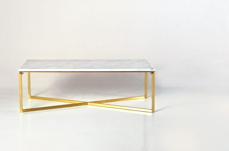 Couchtisch Modern Gold Baguette, Coffee Table. Brass Leg In Gold Finish And White