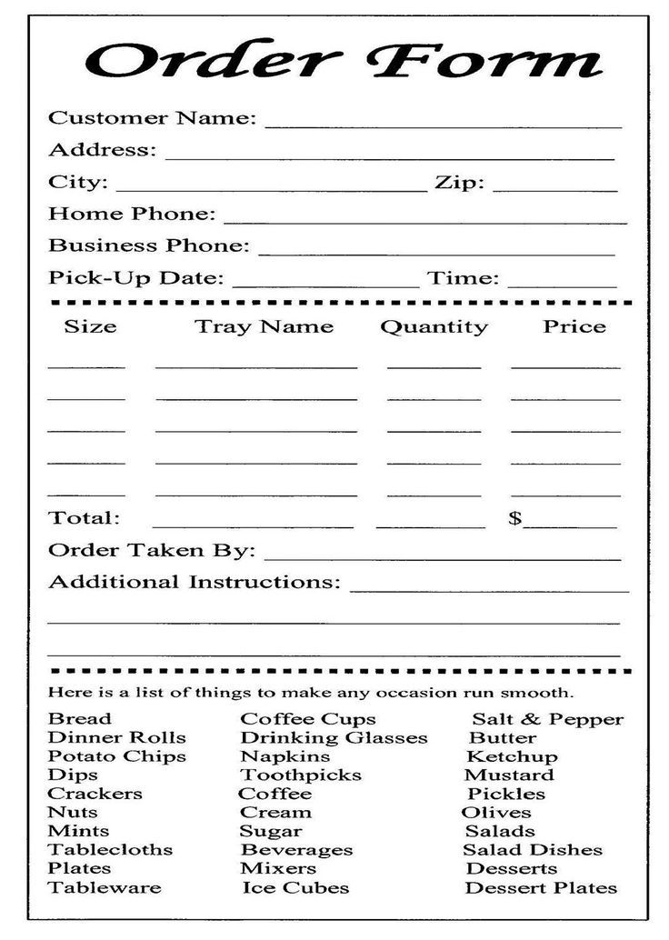 cake order forms printable