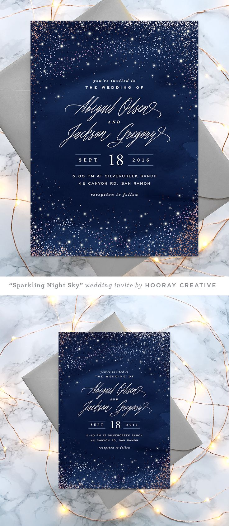 wedding invitation design wedding invitations design Sparkling Night Sky starry wedding invitation design and styling by Hooray Creative