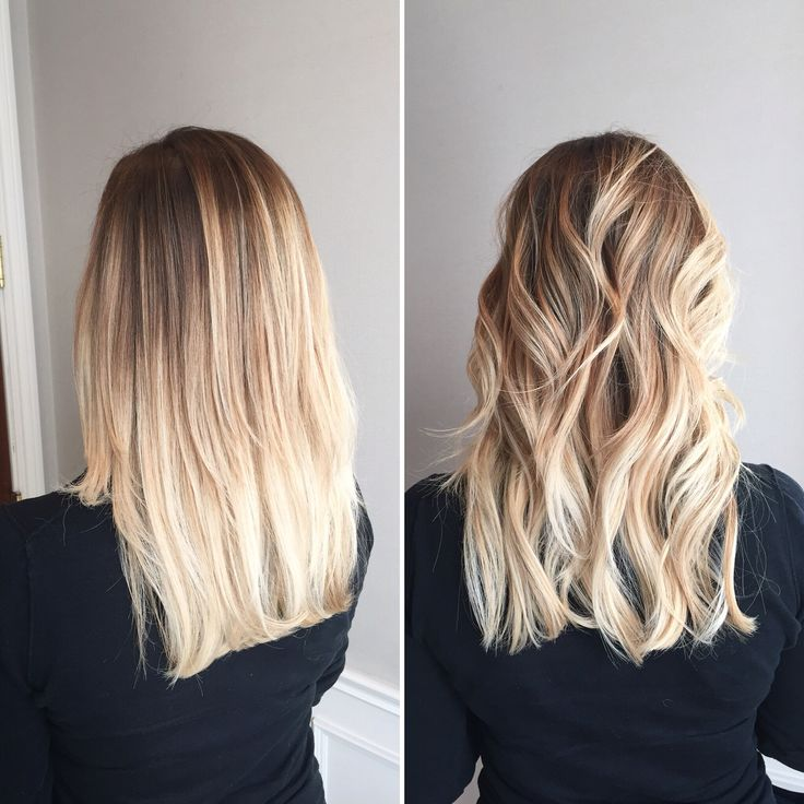 Balayage Braun Pinterest Straight Vs Curly Blonde Balayage Ombré Gives This Blonde