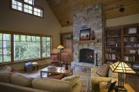 stone-fireplace-vaulted-ceiling | For 608 | Pinterest ...