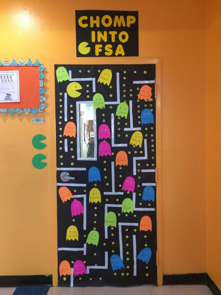 State testing classroom door. Pacman video game